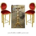 Location Chaise de bar en bois doré et velours rouge