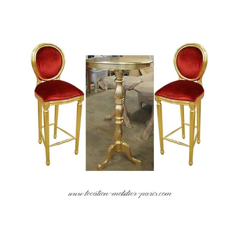 Chaise de bar velours rouge et or - Chaise velours rouge ...