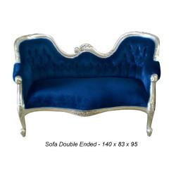 Canapé baroque velours bleu nuit et argent double end petit modele