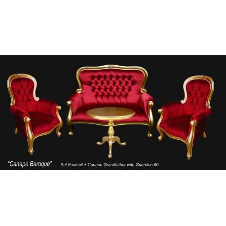 Pack fauteuil et banquette baroque Grandfather