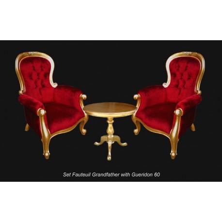 Location ensemble fauteuils baroque dore et rouge
