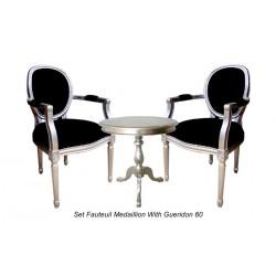 Location fauteuil cabriolet argent et noir Grandfather