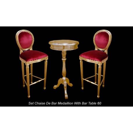 Chaise De Bar Doree Et Velours Rouge Mange Debout A Louer