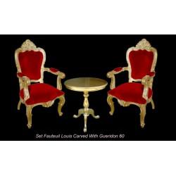 Location pack fauteuil baroque Carved doré et rouge