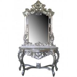 Location console Grappe Miroir Sculptée bois argenté