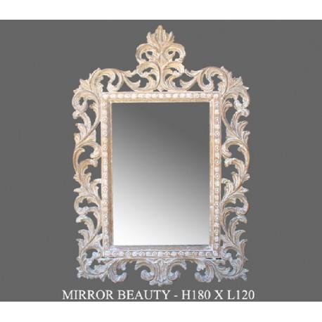 Location miroir cérusé en bois sculpté modèle Beauty