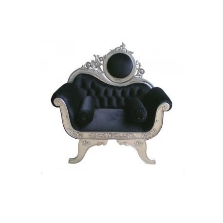 Location trône baroque en velours noir et argenté Victoria