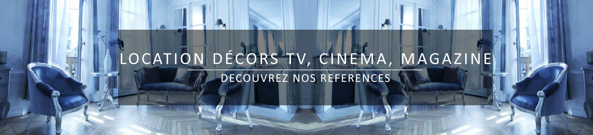 Bandeau location mobilier pour décors cinéma tv et magazine